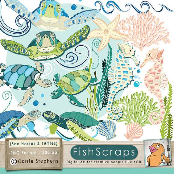 SeaHorse & Sea Turtles ClipArt, Coastal Ocean Animal Clip Art.