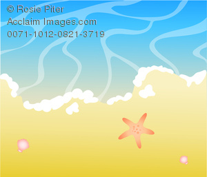 Clip Art Image of an Ocean Beach With a Starfish. Part of the.