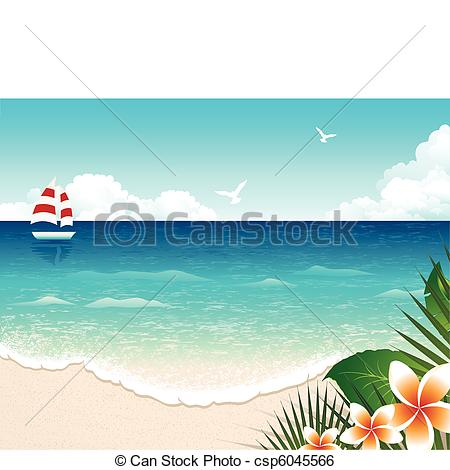 Clip Art Vector of Summer Beach.