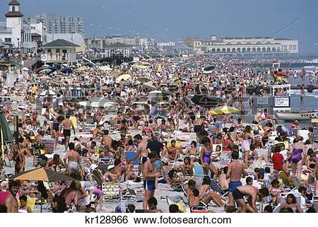 Stock Images of ocean city nj crowded beach in summer kr128966.