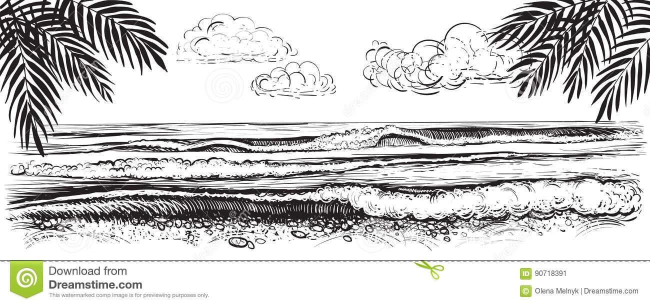 Panoramic Beach View. Vector Illustration Of Ocean Or Sea.