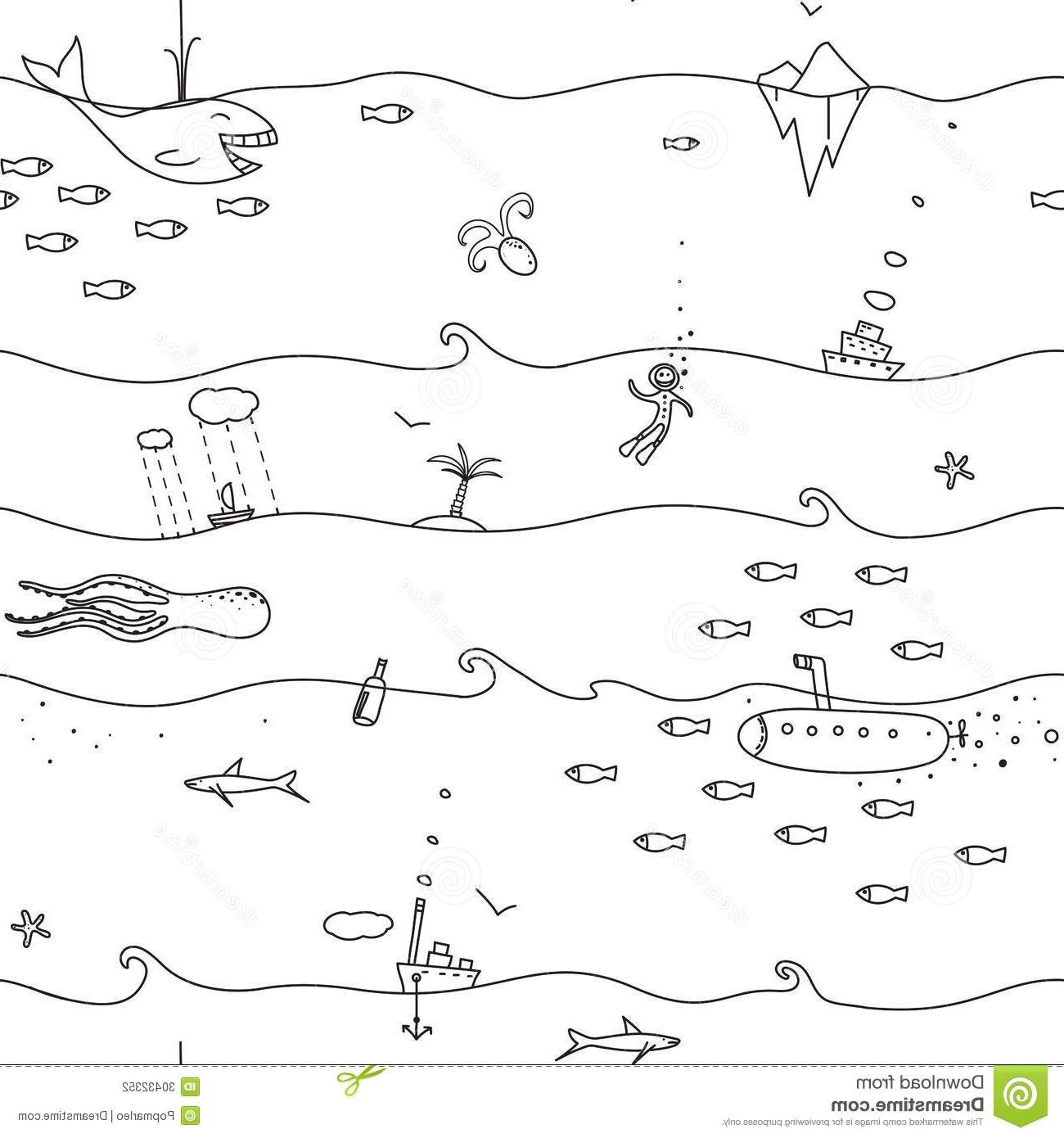 Unique Ocean Clip Art Black And White Library » Free Vector.