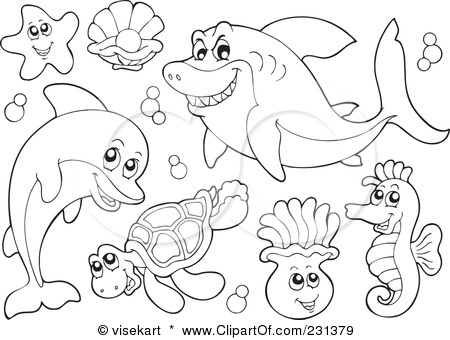 vector animals ocean animals coloring pages free.