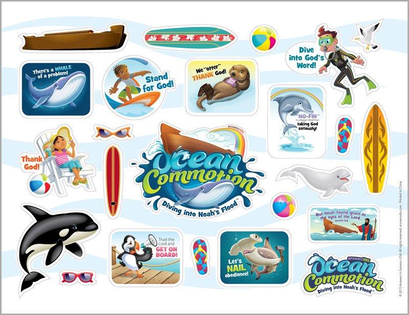 Ocean Commotion VBS: Logo &, Clip Art Sticker Sheet.
