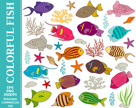 Digital Colourful Fish Clip Art.