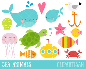 Sea Animals Clip Art, Ocean Creatures.