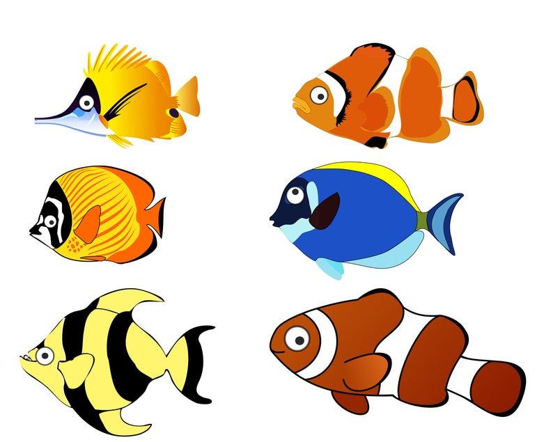 Fish Clip art, Ocean Fish ClipArt, Fish PNG, Cartoon Fish Clip Art, Instant  download Clip Art, 6 Digital fish.