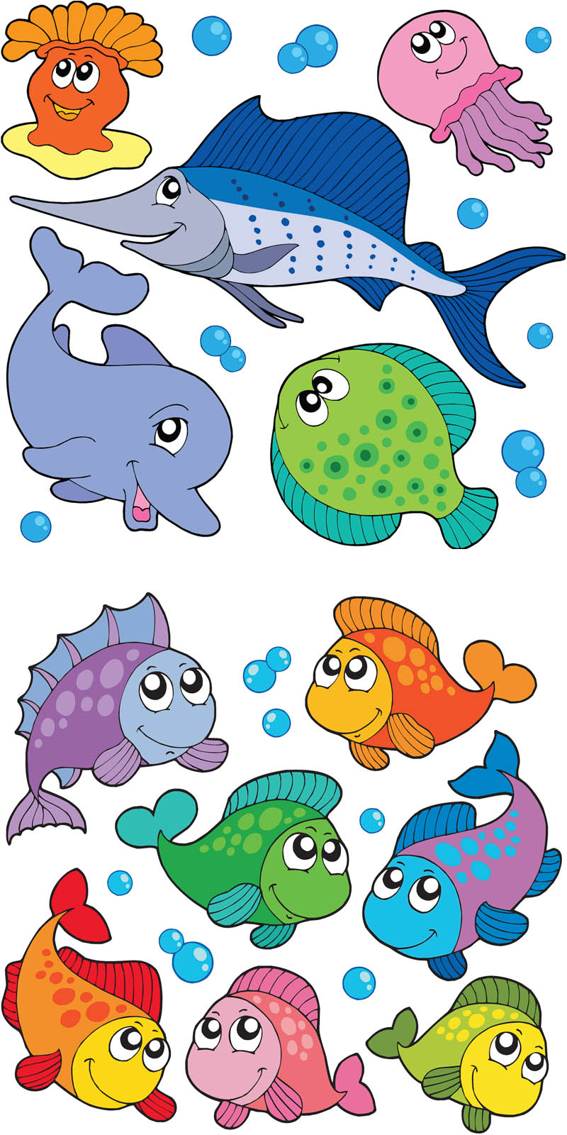 Set of 12 colorful vector cartoon fishes templates (cartoon.