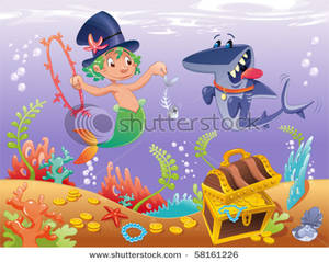Picture: Triton with Shark on the Ocean Floor.