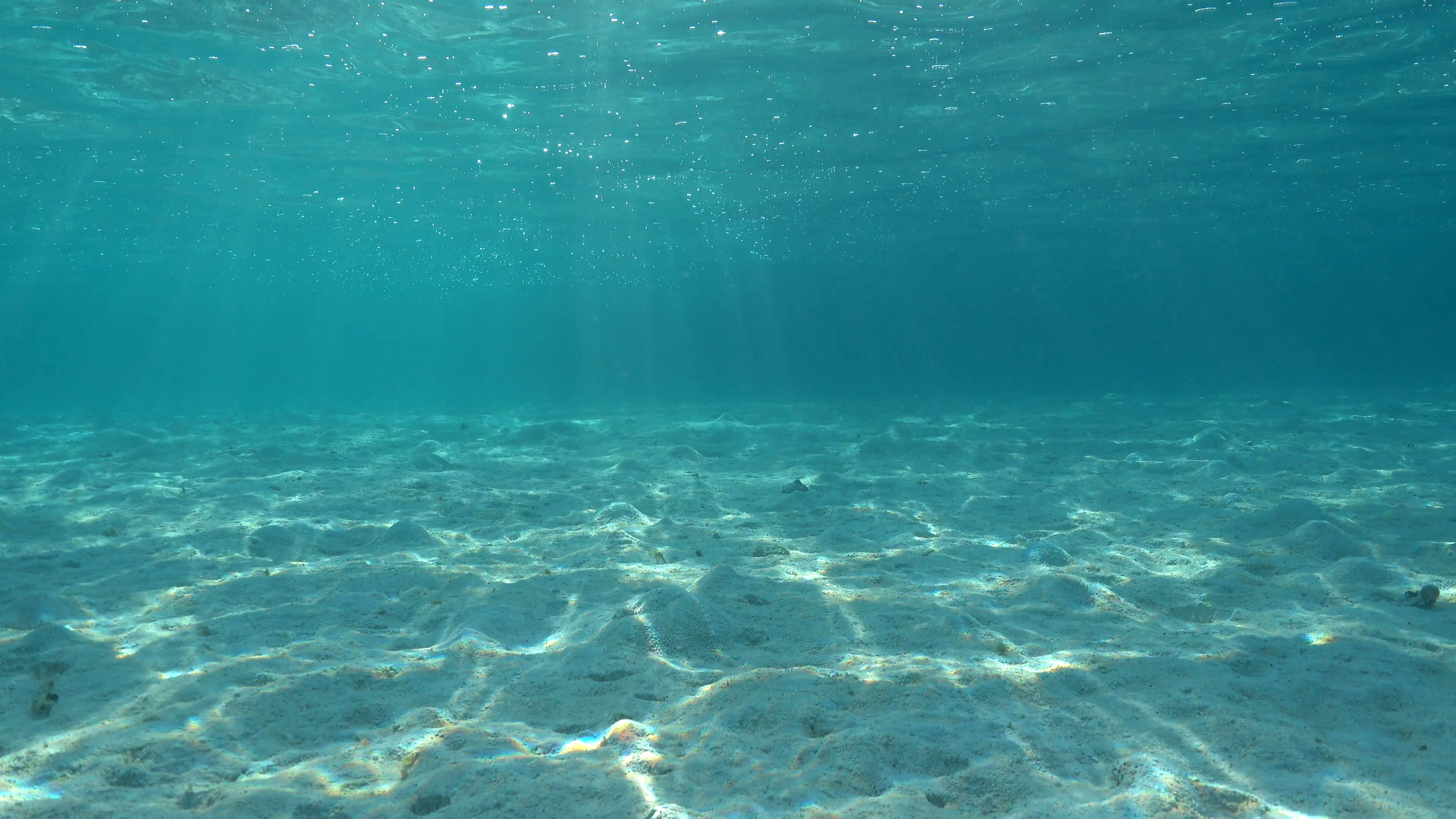Underwater shallow sandy ocean floor with sunlight through water surface,  natural scene, lagoon of Moorea, Pacific ocean, French Polynesia Stock  Video.