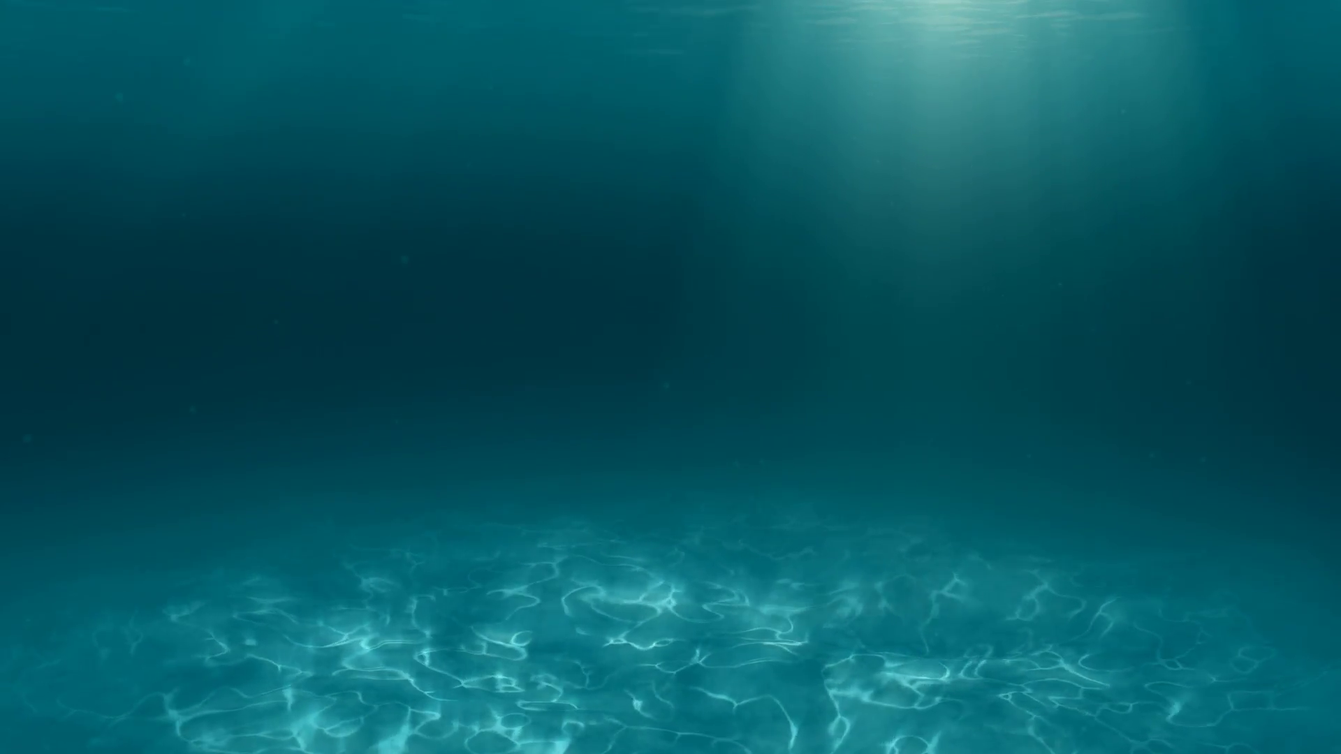 Underwater scene of ocean floor with light rays from surface and floating  algae Motion Background.