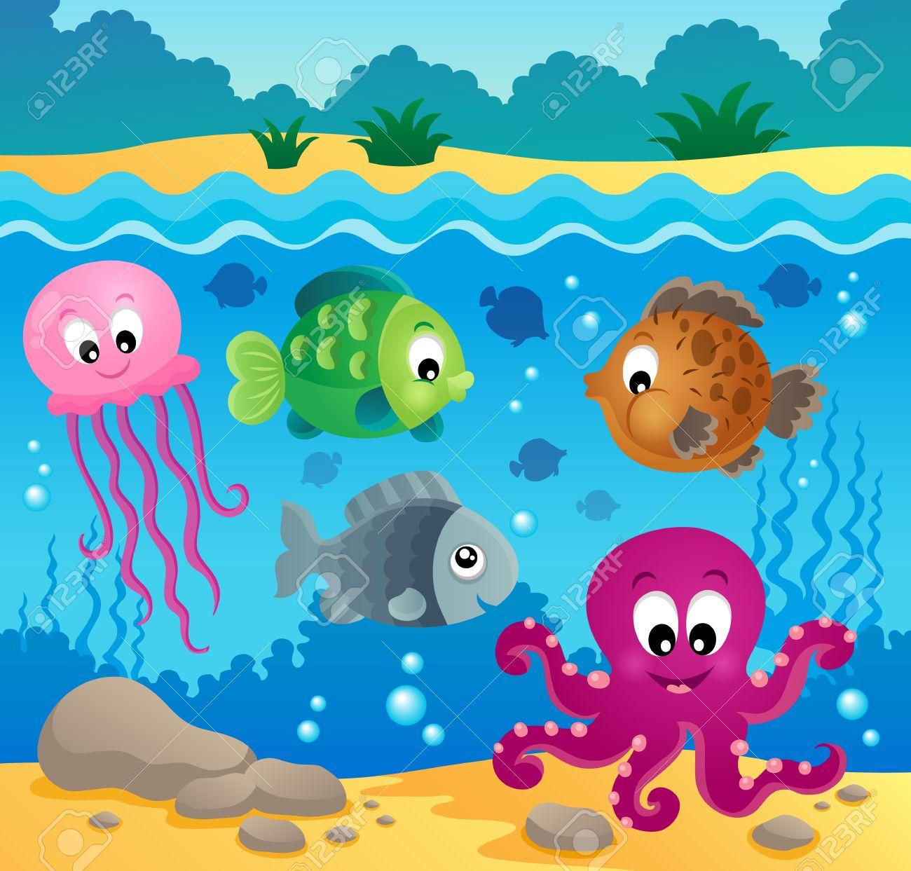 Underwater ocean fauna theme.