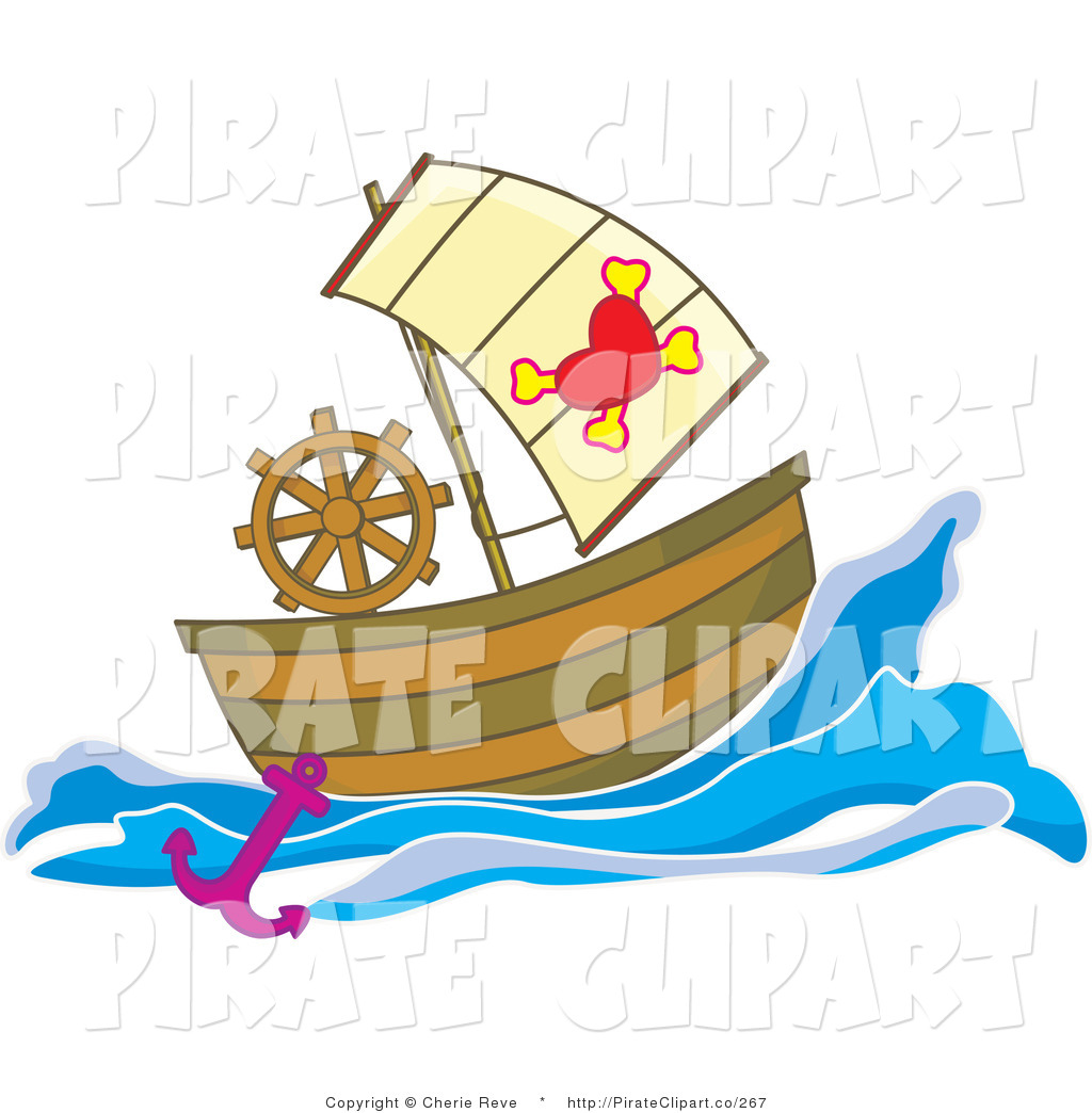 Vector Clip Art of a Pirate Ship with a Heart and Cross Bone Flag.
