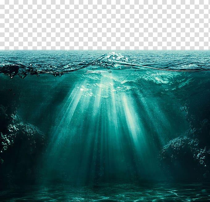 Selective focus body of water, Light Ocean Underwater Deep.