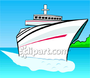 Royalty Free Clip Art Image: Ocean Liner Boat Cutting a Path.