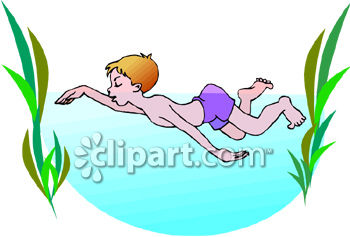 Man swimming in ocean clipart.