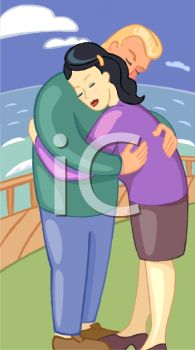 Royalty Free Clip Art Image: A man hugging a woman while standing.