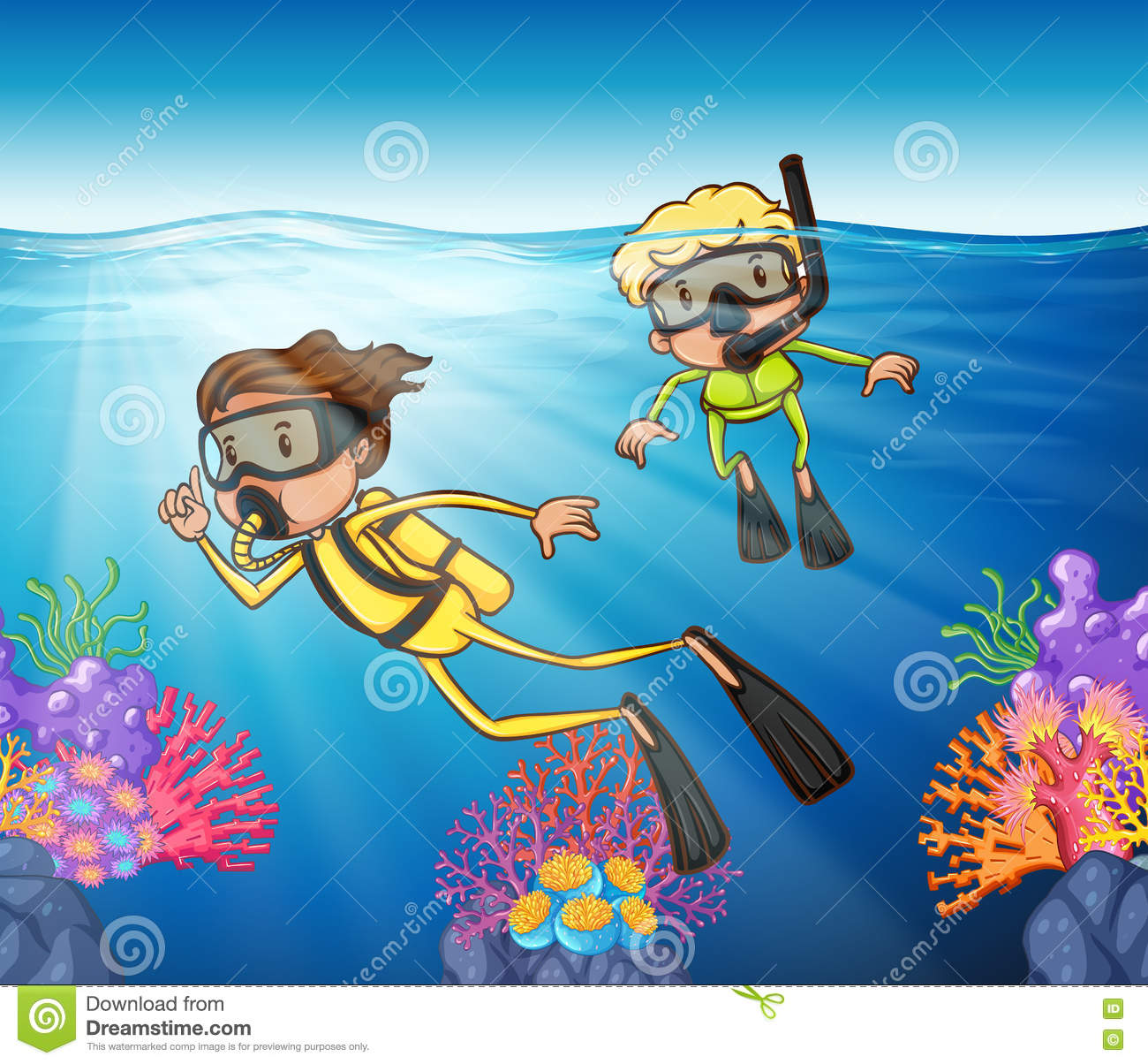 Two People Scuba Diving Under The Ocean Stock Vector.