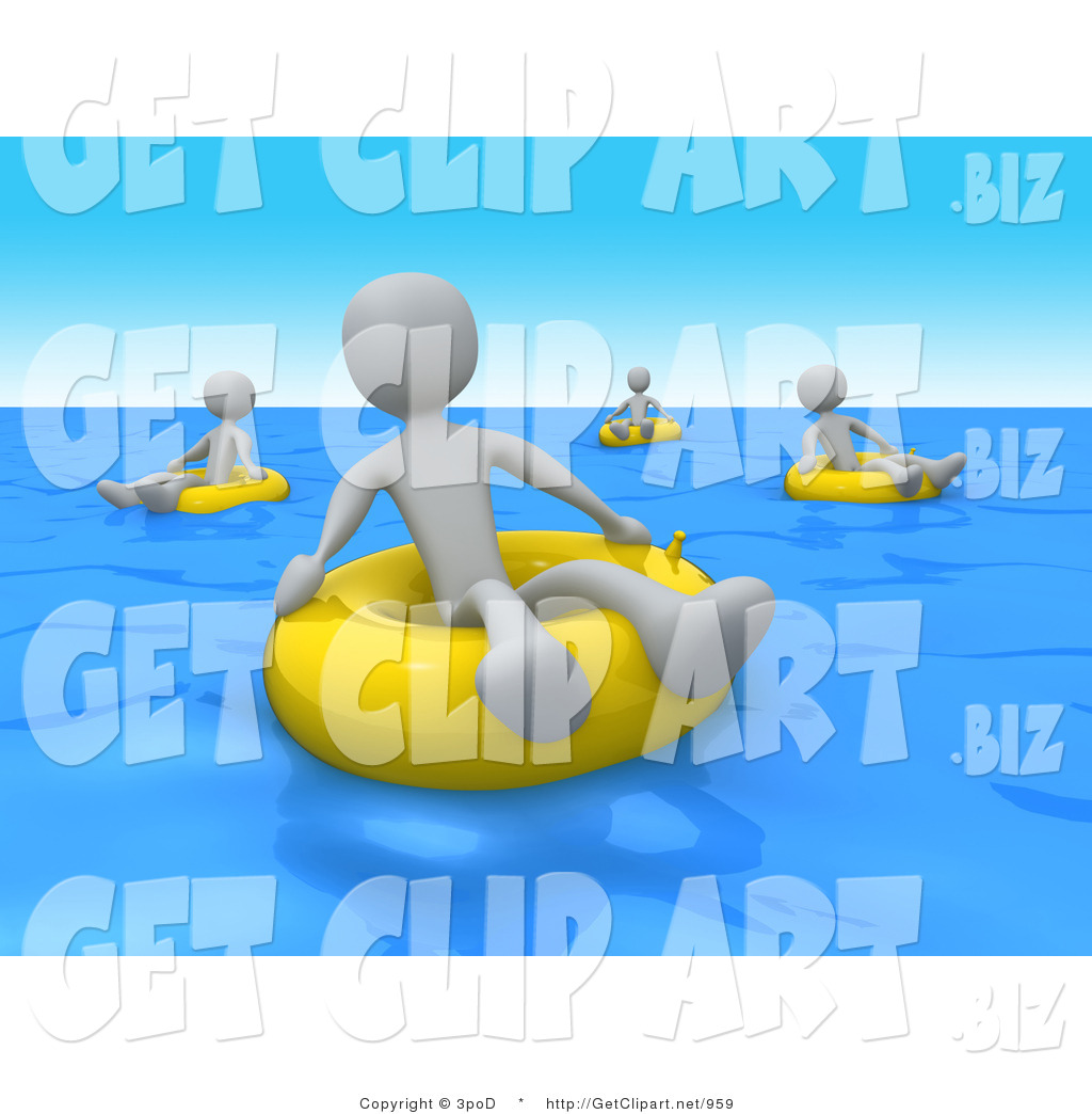 3d Clip Art of Grey People Relaxing and Floating on Yellow Inner.