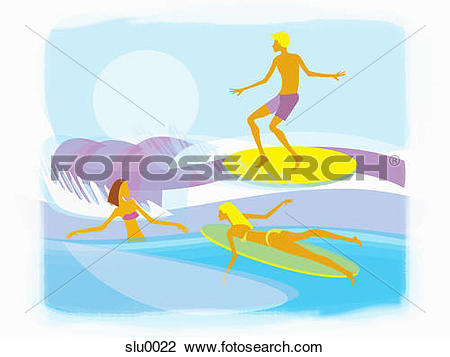 Clip Art of People going surfing in the ocean slu0022.