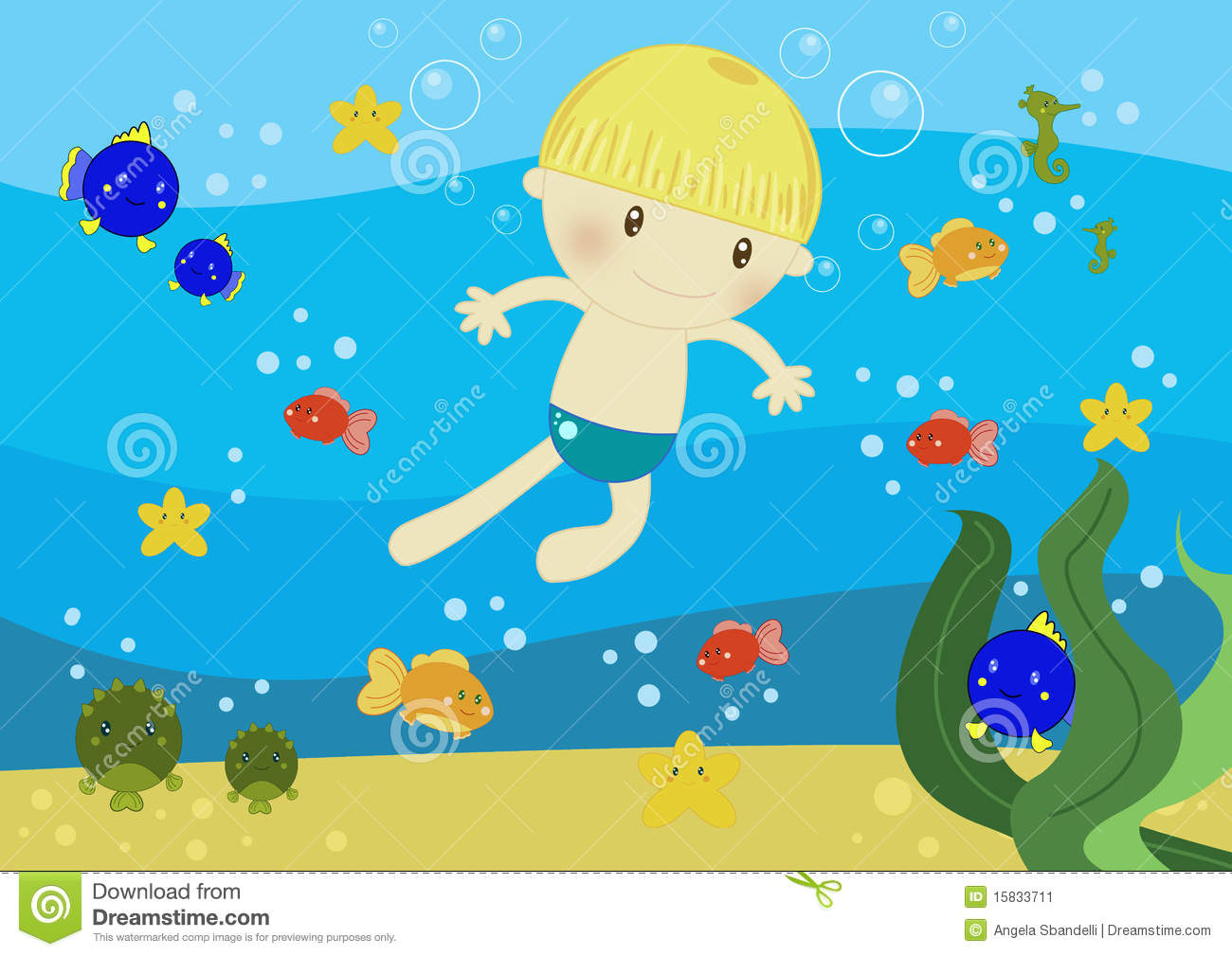 Swimming In The Ocean Clipart.