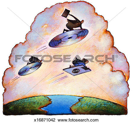 Clip Art of People flying across ocean on compact discs and.