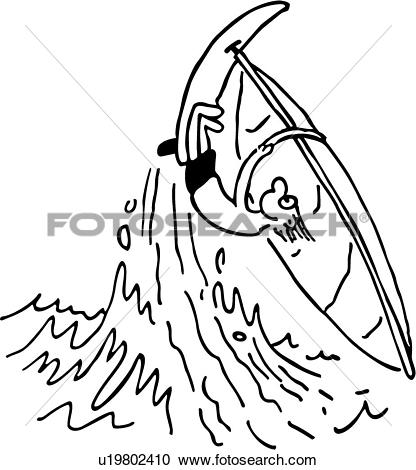 Clipart of , action, board, cartoon, cartoons, ocean, people, sail.