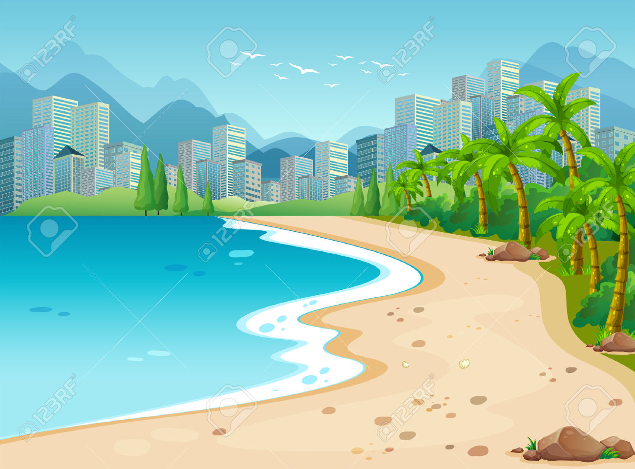 Ocean Scene With City Background Royalty Free Cliparts, Vectors.