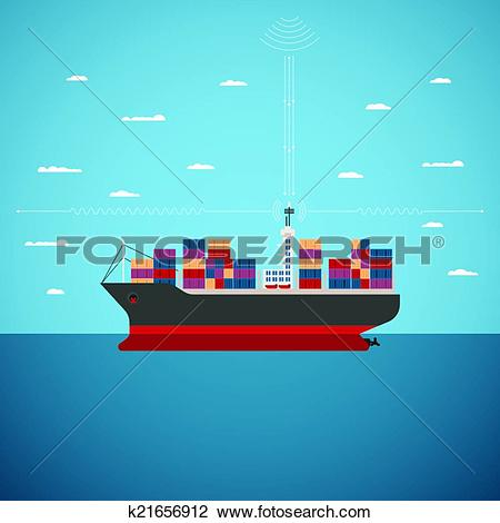Clipart of Vector concept of river ocean and sea freight shipping.