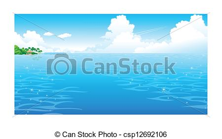 Vector Clipart of Ocean with clouded sky.