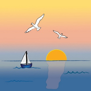 Ocean sunset clipart image ocean sunset with sailboat and.