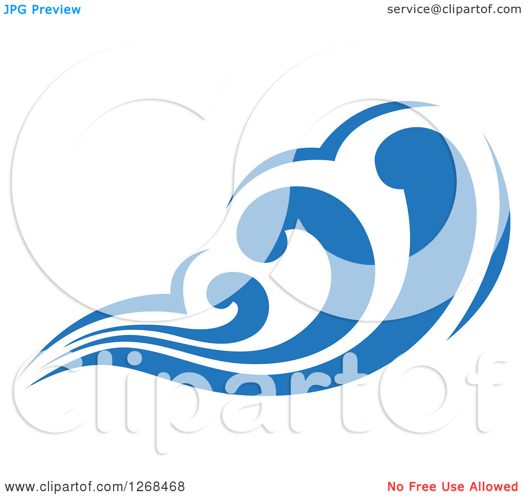 Clipart of a Blue Ocean Surf Wave 4.