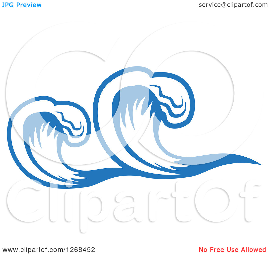 Clipart of Blue Ocean Surf Waves 12.