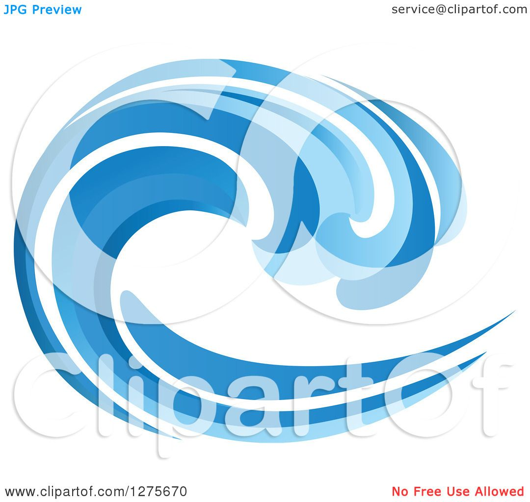 Clipart of a Blue Splashing Ocean Surf Wave 7.