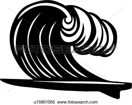 Clipart of , board, equipment, ocean, sport, surf, surfing, wave.