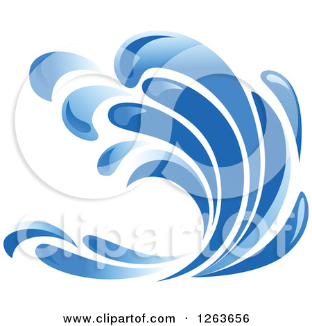 Clipart of a Blue Ocean Surf Wave.