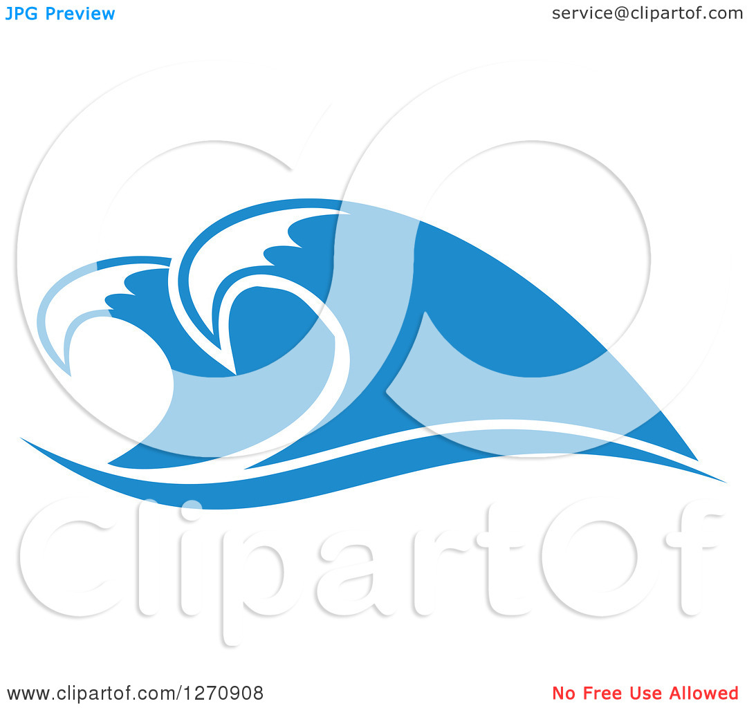 Clipart of a Blue Ocean Surf Waves 19.