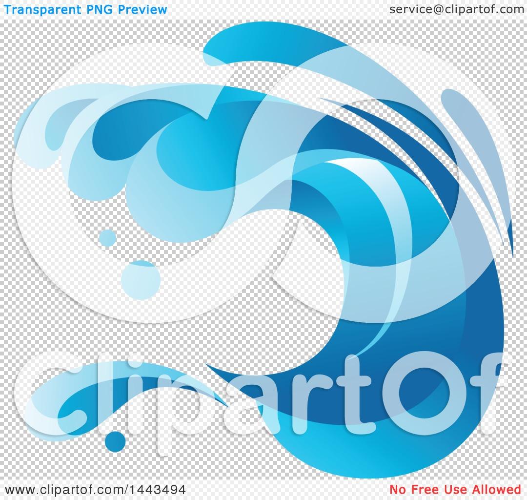 Clipart of a Blue Splash Ocean Surf Wave.