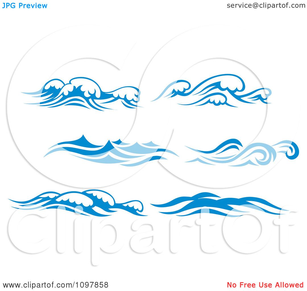 Clipart Blue And White Ocean Surf Waves.