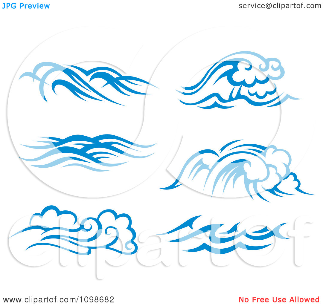 Clipart Blue And White Ocean Surf Waves 2.