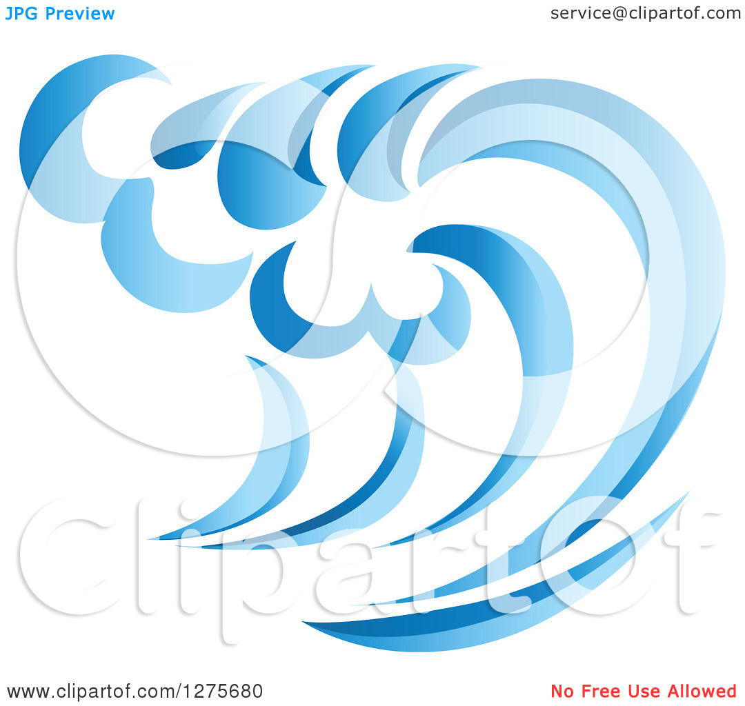 Clipart of a Blue Splashing Ocean Surf Wave 14.