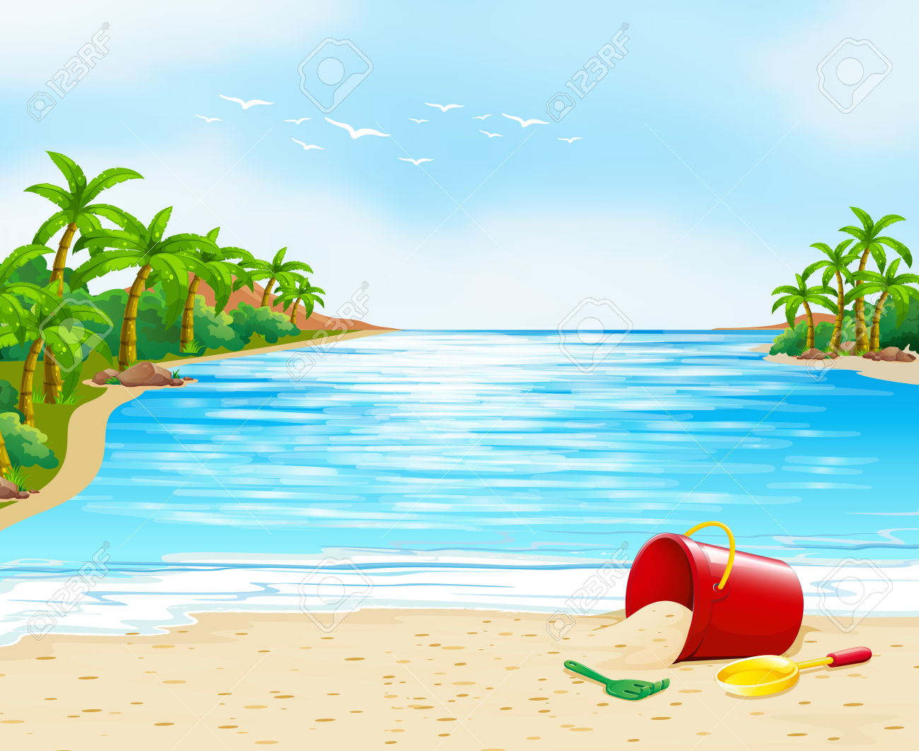 Ocean View With Bucket On The Sand Illustration Royalty Free.