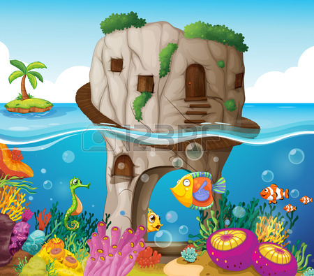 Illustration Of A Cave And Ocean View Royalty Free Cliparts.