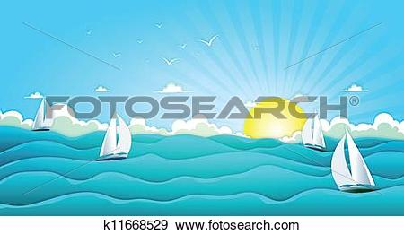 Clip Art of Sailing Boats In Wide Summer Ocean k11668529.