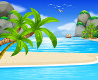 Coconut Floating Ocean Stock Illustrations.