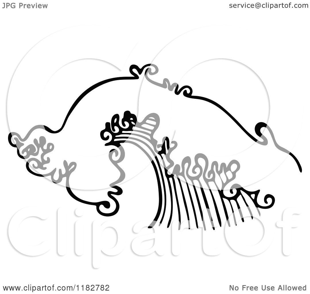 ocean wave clipart black and white #6