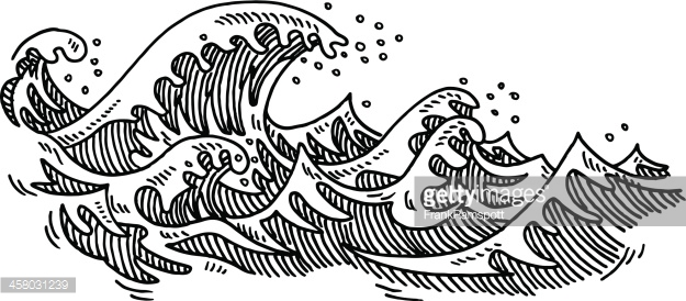 Waves Ocean Drawing Vector Art.