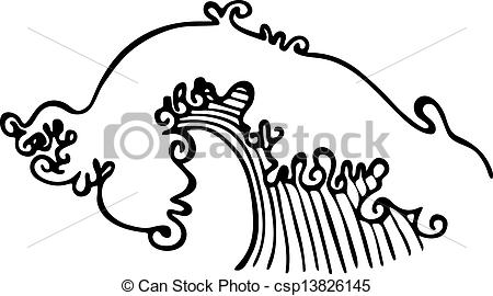 ocean wave clipart black and white #20