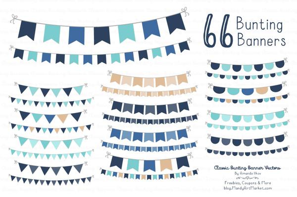 Classic Bunting Banner Clipart in Oceana.