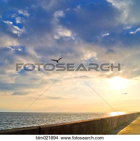 Stock Photo of Walkway Along Oceanfront blm021894.